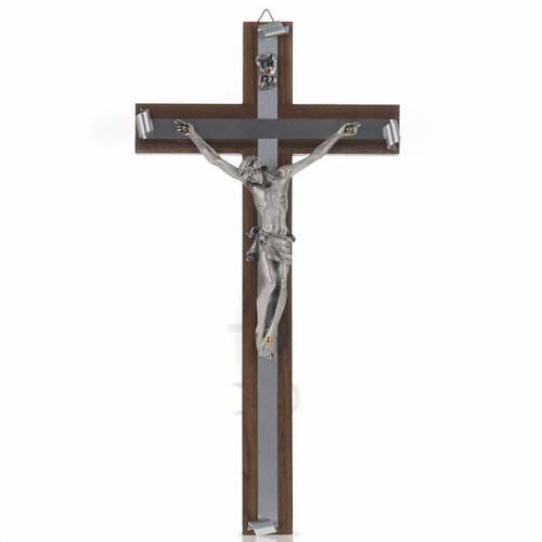 Croix en bois de noix métal argenté aluminium s1