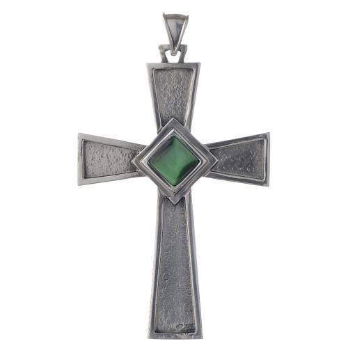 Croix pectorale argent 925 avec malachite s1