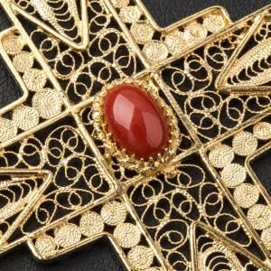 Croix pectorale en filigrane d'argent 800 dorée corail s6