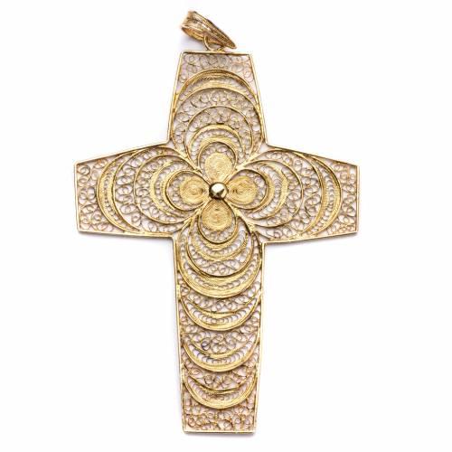 Croix pectorale filigrane argent 800 fleur s1