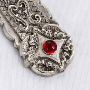 Croix pectorale style baroque cuivre argenté et pierres s3