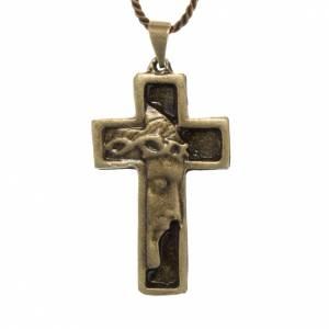 Croix pendentif visage du Christ couleur bronze s1