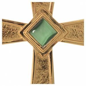 Croix pour évêque argent 925 doré avec malachite s2