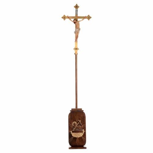 Croix procession bois h 220 cm avec base symbole Agneau s1