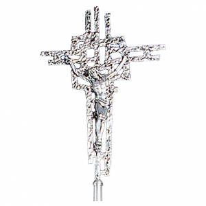 Croix procession en laiton moulé 51x35 cm s1