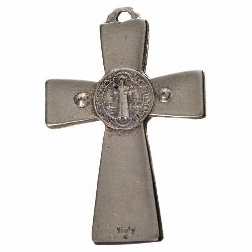 Croix Saint Benoît en zamac émaillé noir 4,8x3,2 cm s2