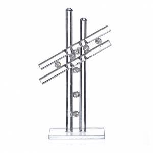 Bonbonnières: Croix verre Murano blanc h 12 cm