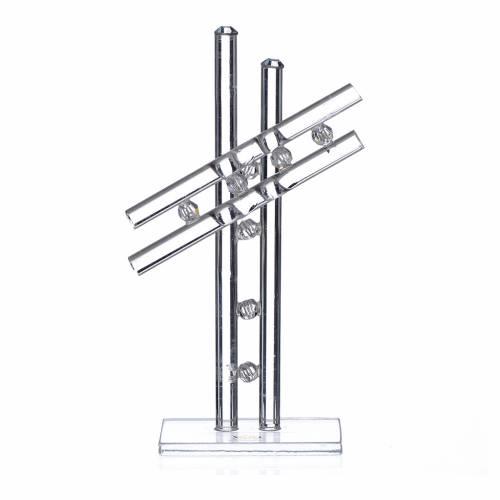 Croix verre Murano blanc h 12 cm s1
