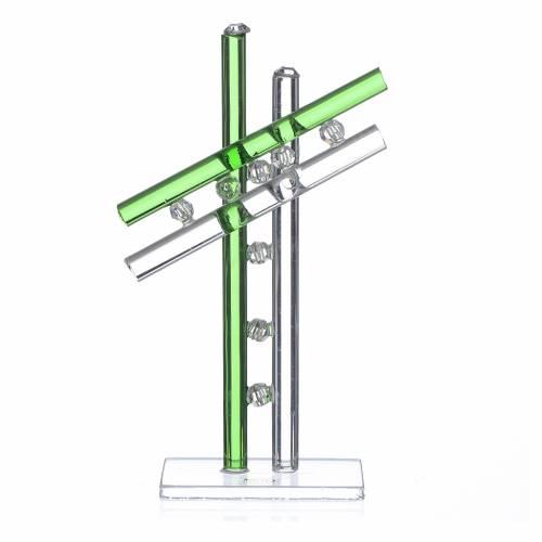 Croix verre Murano vert h 12 cm s1