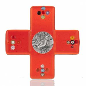 Plexiglass and glass crucifixes: Cross in red Murano glass and Holy Spirit medal