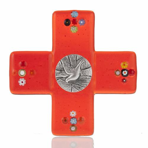 Cross in red Murano glass and Holy Spirit medal s1