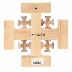 Cross Jerusalem olive wood from Palestine G.B.O.H. 15cm s2