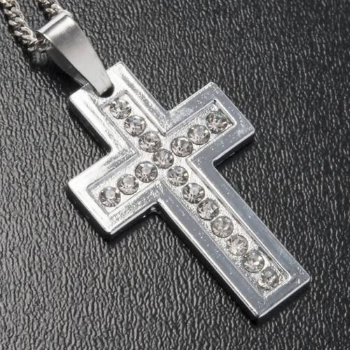 Cross pendant, classic in metal with rhinestones and chain s2