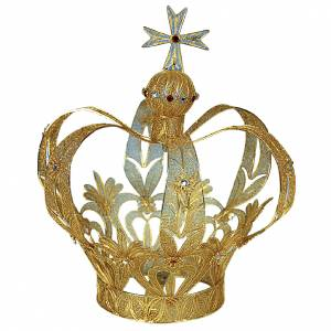 Crowns and halos for religious statues: Crown for statues in 800 silver filigree 25 cm h
