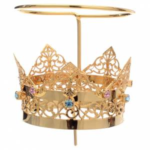 Crowns and halos for religious statues: Crown with halo in brass and strass, 6 cm