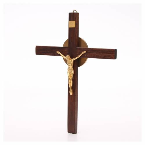 Crucifijo de madera de haya y cuerpo de bronce s2