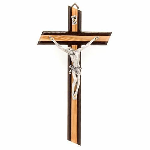 Crucifijo de madera  olivo y wengé plateado s1