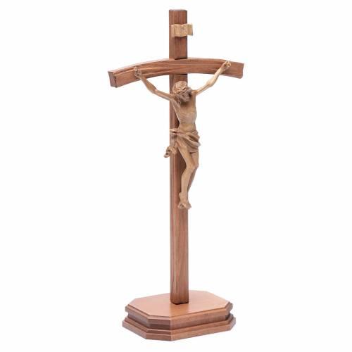 Crucifijo de mesa tallado madera Valgardena patinado s3