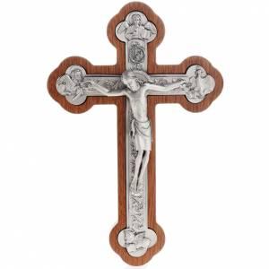 Crucifijo de metal plateado con los 4 evangelistas, con caoba s1