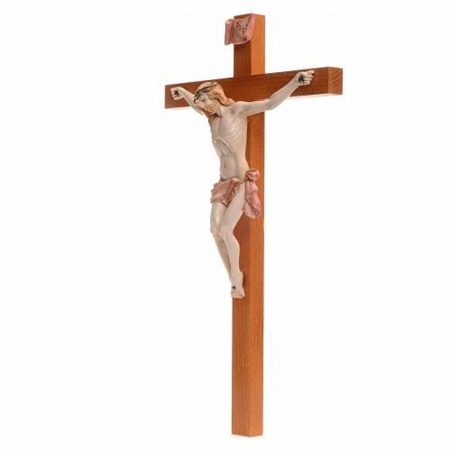 Crucifijo Fontanini 38x21 cruz madera cuerpo pvc tipo porcelana s3