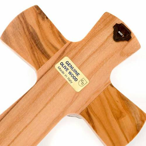 Crucifijo madera de olivo, cuerpo plateado s4