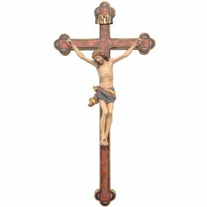 Crucifijo trilobulado modelo Corpus, madera Valgardena Antiguo d s1