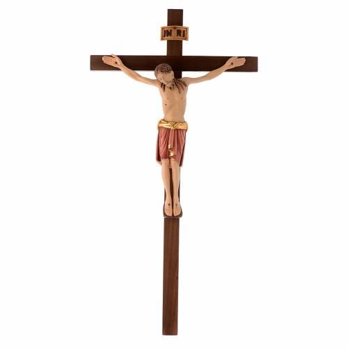Crucifijo Val Gardena madera pintada San Damián s1