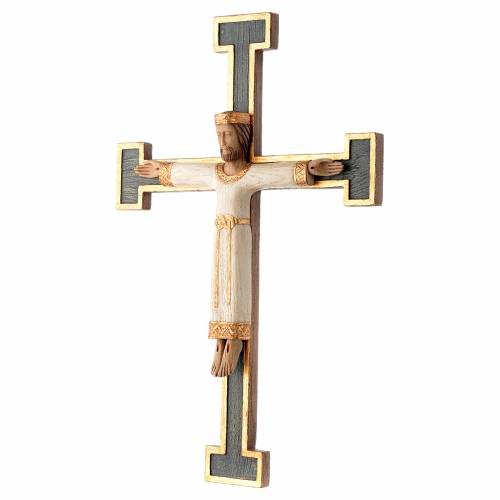 Crucifix Chist roi en blanc, croix verte en pierre s2