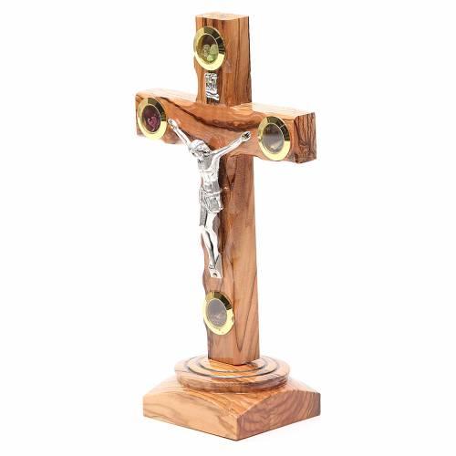 Crucifix de table olivier Terre Sainte terre et grains 19 cm s2