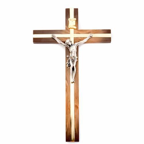 Crucifix en bois de racine argenté s1