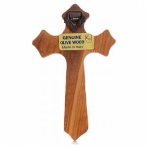 Crucifix in olive wood with 3 points, Christ's body in silver metal s2