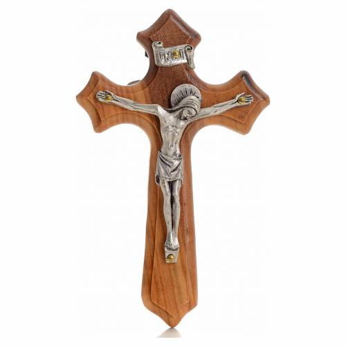 Crucifix in olive wood with 3 points, Christ's body in silver metal s1