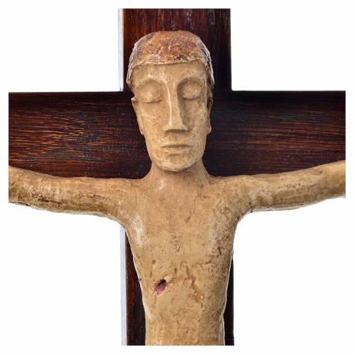 Crucifix in stone on wood H34cm Bethléem s5
