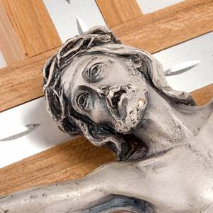 Crucifix in walnut wood and aluminium with silver metal body s3