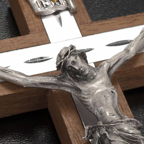 Crucifix in walnut wood and silver metal s4
