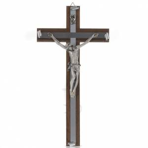 Crucifix in walnut wood, silver metal and aluminium s1