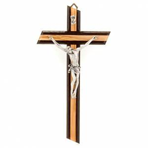 Wooden crucifixes: Crucifix in wenge and olive wood, with silver metal