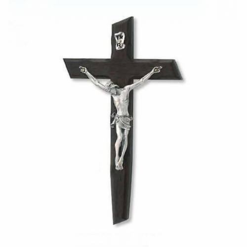 Crucifix in wenge wood and body in silver metal s1