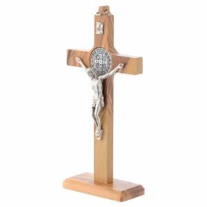 Crucifix St. Benoît bois d'olivier pour table ou mur s2