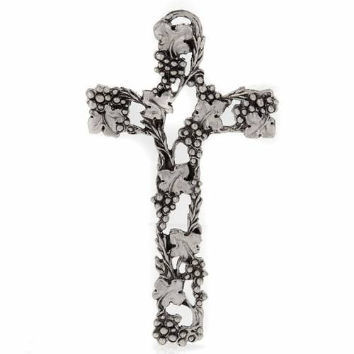 Crucifix, silver-coloured with grapes and branches 13cm s1