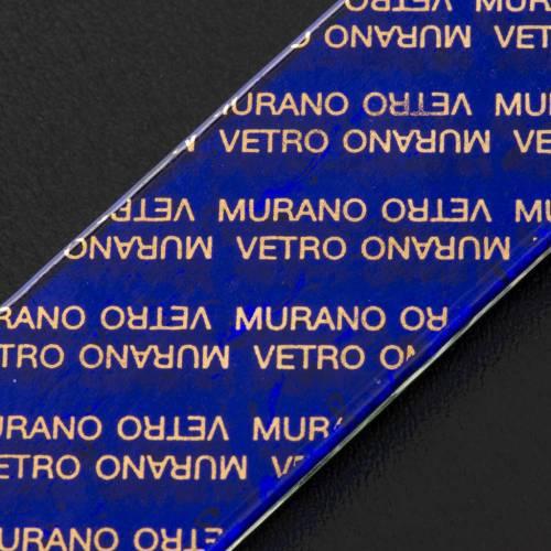 Crucifix verre Murano et feuille argent multicolore s4