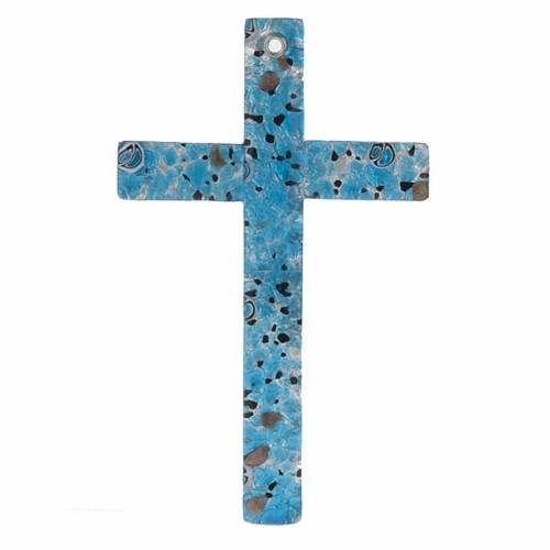 Crucifix verre Murano et feuilles argent s1