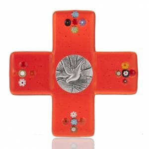 Crucifix en plexiglass et verre: Crucifix verre Murano rouge plaque Saint Esprit