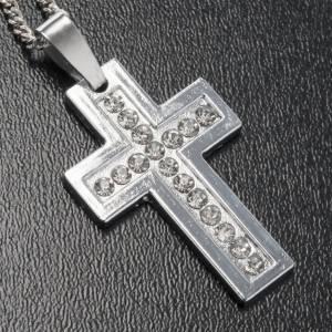 Cruz colgante metal clásica strass y cadena s2