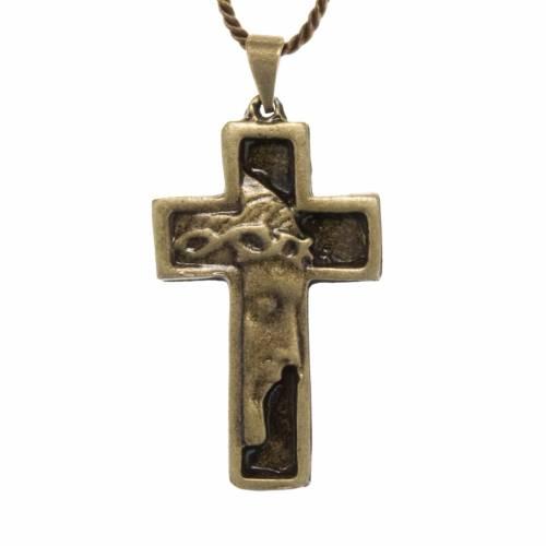 Cruz collar rostro de Jesucristo color bronce s1