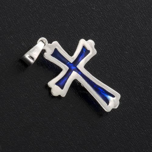 Cruz con esmalte azul, plata 925 s3
