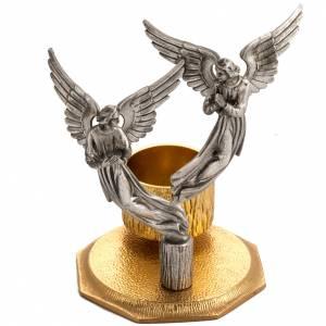 Cruces de altar con candeleros: Cruz de mesa y candelabros con ángeles, en bronce fundido