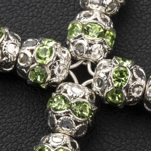 Cruz de plata con strass verde de 6mm s3
