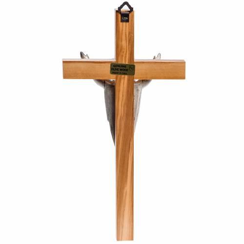 Cruz estilizada de caoba, cuerpo de Jesús plateado s4