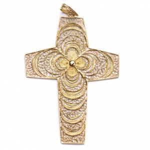 Artículos Obispales: Cruz Pectoral de filigrana  florales de plata 800 dorado